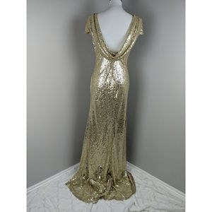 Gold Sequin Swoop Glamour Gown